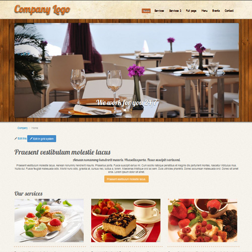 Restaurant or pizza wordpress template